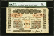India Government of India 10 Rupees Calcutta 1.2.1918 Pick A10g Jhunjhunwalla-Razack 2A.2.3 A.3 PMG Very Fine 30. A pleasing example of this oversized...