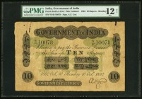 India Government of India 10 Rupees Bombay 10.10.1892 Pick UNL Jhunjhunwalla-Razack 2A.2.1D.5 PMG Fine 12 Net. An amazing example, very rare in any gr...