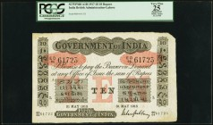India Government of India 10 Rupees Lahore 31.5.1918 Pick A10i Jhunjhunwalla-Razack 2A.2.3 E.2 PCGS Apparent Very Fine 25. The letter L for Lahore as ...