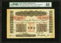 India Government of India 10 Rupees Madras 13.7.1918 Pick A10r Jhunjhunwalla-Razack 2A.2.3 C.2 PMG Choice Extremely Fine 45. A high grade circulated e...