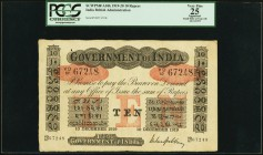 India Government of India 10 Rupees 10.12.1919 Pick A10v Jhunjhunwalla-Razack 2A.2.4.1 PCGS Apparent Very Fine 25. Aside from a small hole at top left...