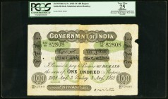 India Government of India 100 Rupees Bombay 3.8.1918 Pick A17c Jhunjhunwalla-Razack 2A.5.2 D.3 PCGS Apparent Very Fine 25. Quite a rare type and the f...