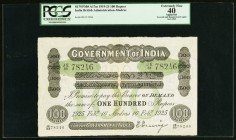 India Government of India 100 Rupees Madras 16.2.1925 Pick A17m Jhunjhunwalla-Razack 2A.5.2 E.3 PCGS Apparent Extremely Fine 40. A handsome, lightly c...
