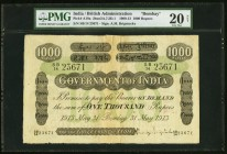 India Government of India, Bombay 1000 Rupees Bombay 31.5.1913 Pick A19a Jhunjhunwalla-Razack 2A.7.2 D.1 PMG Very Fine 20 Net. An incredible offering,...