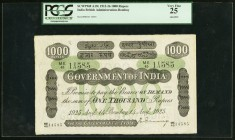 India Government of India, Bombay 1000 Rupees Bombay 14.8.1925 Pick A19c Jhunjhunwalla-Razack 2A.7.2 D.3 PCGS Very Fine 25. Fantastic grandly sized ba...