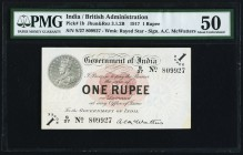India Government of India 1 Rupee 1917 Pick 1b Jhunjhunwalla-Razack 3.1.2B PMG About Uncirculated 50. A pair of vignettes showing the obverse and reve...