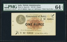 India Government of India 1 Rupee ND (1917-30) Pick 1e Jhunjhunwalla-Razack 1.2A PMG Choice Uncirculated 64 EPQ. A pleasing example from this long run...