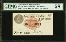 India Government of India 1 Rupee 1917 Pick 1g Jhunjhunwalla-Razack 3.1.1A-B PMG Choice About Unc 58. Issued during World War I, this 1 Rupee note dep...