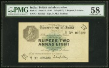 India Government of India, Calcutta 2 Rupees, 8 Annas ND (1917) Pick 2 Jhunjhunwalla-Razack 3.3.1 PMG Choice About Unc 58. Amazingly choice and of cou...
