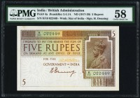 India Government of India 5 Rupees ND (1917-30) Pick 4a Jhunjhunwalla-Razack 3.4.1A. PMG Choice About Unc 58. The first Denning signature is seen on t...