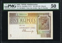 India Government of India 5 Rupees ND (1917) Pick 4a Jhunjhunwalla-Razack 3.4.1A. PMG About Uncirculated 50. A large format multicolor note, this 5 Ru...