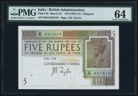 India Government of India 5 Rupees ND (1925-32) Pick 4b Jhunjhunwalla-Razack 3.4.2 PMG Choice Uncirculated 64. Currently occupying the top spot in the...