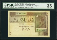 India Government of India 5 Rupees ND (1925-41) Pick 4b Jhunjhunwalla-Razack 3.4.2 PMG Choice Very Fine 35. The Star of India is the watermark on this...