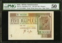 India Government of India 5 Rupees ND (1917-30) Pick 4c Jhunjhunwalla-Razack 3.4.2 PMG About Uncirculated 50. A profile portrait of the reigning monar...