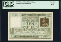 India Government of India 10 Rupees ND (1923) Pick 5a Jhunjhunwalla-Razack 3.6 PCGS Very Fine 25. A scarce type in any grade, and the first 10 Rupees ...