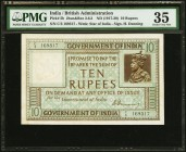 India Government of India 10 Rupees ND (ca. 1920-25) Pick 5b Jhunjhunwalla-Razack 3.6.2 PMG Choice Very Fine 35. This post World War I issue is printe...