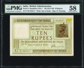 India Government of India 10 Rupees ND (1917-1930) Pick 6 Jhunjhunwalla-Razack 3.6.A.1 PMG Choice About Unc 58. A watermark of the Star of India and a...