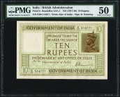 India Government of India 10 Rupees ND (1917-30) Pick 6 Jhunjhunwalla-Razack 3.6A.1 PMG About Uncirculated 50. Issued between 1917 and 1930, this gree...