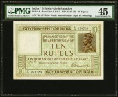 India Government of India 10 Rupees ND (ca. 1920-25) Pick 6 Jhunjhunwalla-Razack 3.6A.1 PMG Choice Extremely Fine 45. The design of this note is simil...