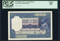India Government of India 10 Rupees ND (1925-32) Pick 7a Jhunjhunwalla-Razack 3.7 PCGS Very Fine 35. Featuring the Denning signature, this is the firs...
