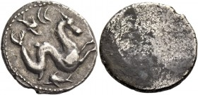 Etruria, Lucca. 10 units III century, AR 4.26 g. Hippocamp r.; below, dolphin and above, dolphin and CC. Rev. Blank. Sambon 24. AMB 19 (this coin). SN...