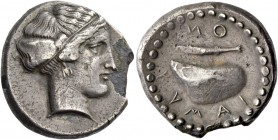 Campania, Cuma. Plated didrachm circa 420-380, AR 5.50 g. Nymph head r. Rev. KVMAION Mussel shell l.; above, barley grain. Rutter 130 (this coin). His...