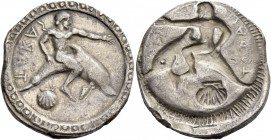Calabria, Tarentum. Nomos circa 510-495, AR 7.92 g. TARAS retrograde Oecist seated on dolphin r., left arm extended; below, shell. Rev. The same type ...
