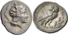 Calabria, Tarentum. Drachm circa 280-272, AR 3.31 g. Head of Athena r. wearing crested Attic helmet decorated with Scylla hurling stone. Rev. NEYMHNIO...