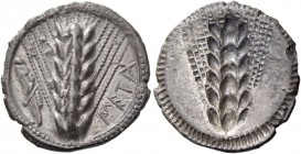 Metapontum. Drachm circa 540-510, AR 2.46 g. META Ear of barley; in l. field, grasshopper. Rev. The same type incuse. Noe-Johnston 106. Historia Numor...