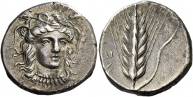 Metapontum. Nomos circa 400-340, AR 7.75 g. Facing head of Demeter, slightly r., wearing barley wreath and necklace with pendants; above, [ΣΩTHEPIA]. ...