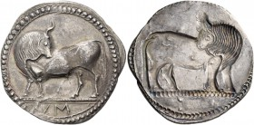 Sybaris. Nomos circa 550-510, AR 8.35 g. Bull standing l. on dotted exergual line, looking backward; in exergue, VM. Rev. The same type incuse. SNG Co...