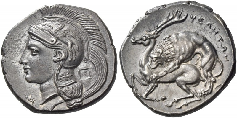 Velia. Nomos circa 290-280/275, AR 7.57 g. Head of Athena l., wearing crested At...