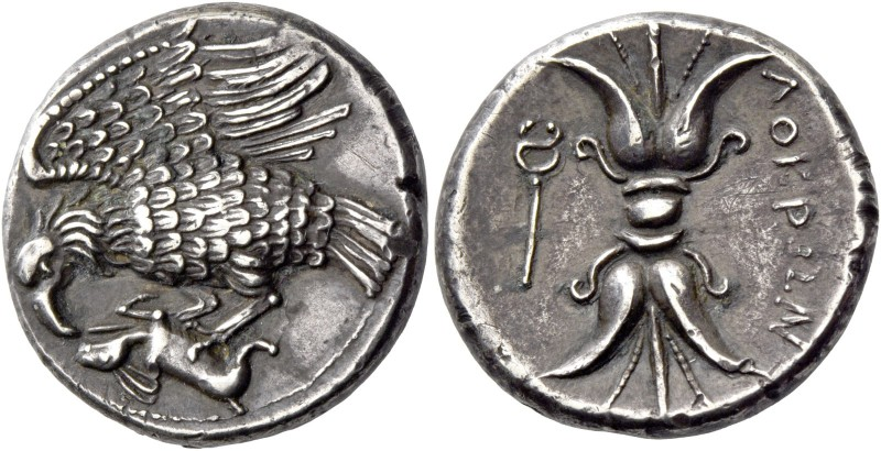 Locri Epizephyrii. Plated nomos circa 300-280, AR 5.98 g. Eagle l., with spread ...
