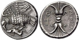 Locri Epizephyrii. Plated nomos circa 300-280, AR 5.98 g. Eagle l., with spread wings, perching on dead hare. Rev. ΛΟΚΡΩΝ Thunderbolt; beneath, caduce...