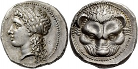 Rhegium. Tetradrachm circa 300-280, AR 17.29 g. [PHΓINOΣ] Laureate head of Apollo l., long hair falling in curls over neck. Rev. Lion's head facing. S...