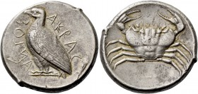 Sicily, Agrigentum. Tetradrachm circa 460, AR 17.42 g. AKRAC – ANTOΣ (retrograde) Eagle standing l., with closed wings. Rev. Crab. SNG ANS 978 (this o...