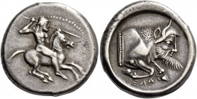 Gela. Didrachm circa 480, AR 8.61 g. Naked horseman r., hurling javelin from upraised r. hand and holding reins in l. Rev. CEΛΑΣ Forepart of man-heade...