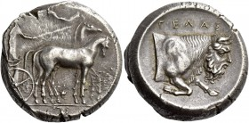 Gela. Tetradrachm 420-415, AR, 17.53 g. Slow quadriga driven r. by charioteer; above, Nike flying l. to crown him. Rev. ΓΕΛΑΣ Forepart of man-headed b...