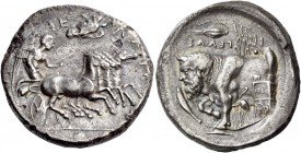 Gela. Tetradrachm circa 415-405, AR 16.48 g. ΓΕ – ΛΩ – [ΙΩ – Ν] Fast quadriga driven r. by Nike, holding kentron and reins; above eagle flying r. and,...