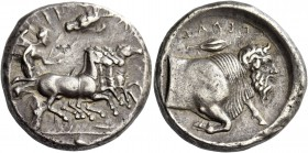 Gela. Tetradrachm circa 415-404, AR 17.21 g. [ΓΕΛΩIΩN] Fast quadriga driven r. by Nike, holding kentron and reins; above, eagle flying r. In exergue, ...