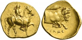 Gela. Dilitron circa 406-405, AV 1.72 g. Rider on horse pacing r., wearing chiton, Phrygian helmet and boots, holding in r. hand reins and in l. spear...
