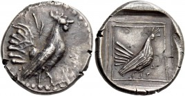 Himera. Chalcidian drachm circa 515-500, AR 5.39 g. Cockerel standing r. Rev. Hen standing r. within framed incuse square. SNG ANS 510. Kraay Himera –...