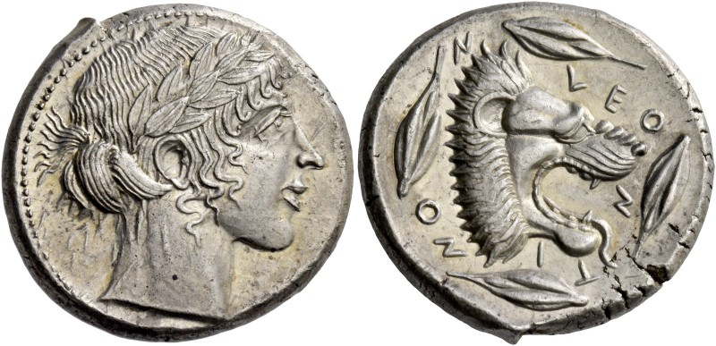 Leontini. Tetradrachm circa 455-450, AR 17.38 g. Laureate head of Apollo r. Rev....