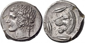 Leontini. Tetradrachm circa 430-425, AR 17.24 g. Laureate head of Apollo l. Rev. LEO – N – TI – NON Lions' head l., with open jaws and protruding tong...
