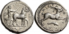 Messana. Tetradrachm circa 420-413, AR 17.28 g. ΜΕΣ – ΣΑΝΑ retrograde; Biga of mules driven r. by charioteer, wearing long chiton and holding reins in...