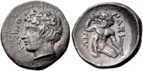 Naxos. Hemidrachm circa 420, AR 1.99 g. Ivy-wreathed head of river god Assinos l. Rev. Silenus squatting facing, head l., holding cantharus in r. hand...