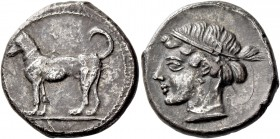 Segesta. Didrachm circa 440-416, AR 8.48 g. Hound standing l. Rev. Diademed head of nymph Segesta l. SNG ANS 629 (these dies). Winterthur I, 833 (thes...