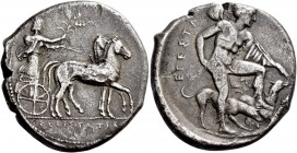 Segesta. Tetradrachm circa 415, AR 16.37 g. ΣEΓEΣTAZIB Aegestes, the city's founder, as charioteer, driving slow quadriga r. and holding barley ears. ...