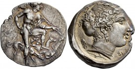 Segesta. Tetradrachm circa 405-400, AR 17.16 g. EΓE STAIΩN Aegestes, the city's founder, as hunter, standing r. with l. foot upon rock, r. hand restin...