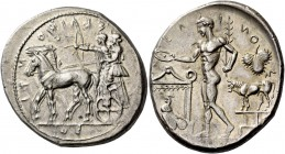 Selinus. Tetradrachm circa 440, AR 17.58 g. ΣΕΛ – ΙΝ – ΟΝΤ – ΙΟΣ Slow quadriga l. in which stand Apollo and Artemis, respectively shooting arrow and h...